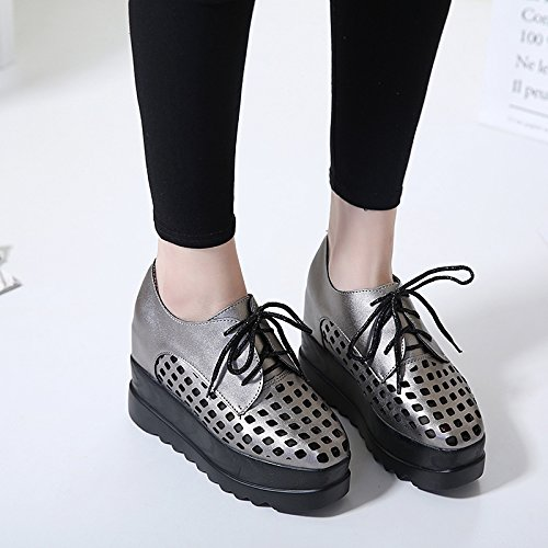GTVERNH-nella primavera del grey 7.5cm scarpe pendio con spesse maggiore le scarpe impermeabili donna super lacci degli stivali col tacco alto,37 Thirty-five