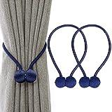 Embrasses de rideaux magnétiques de luxe avec boules en bois uniques, paquet de 2 attaches de retenue de draperie décoratives pour fenêtre de bureau à la maison, rideaux occultants, bleu