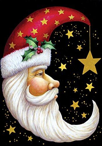 Toland Home Garden Santa Moon 31,8x 45,7cm Deko Winter Weihnachten Urlaub Celestial Star Garten Flagge (Kleinen Garten Urlaub-flags)