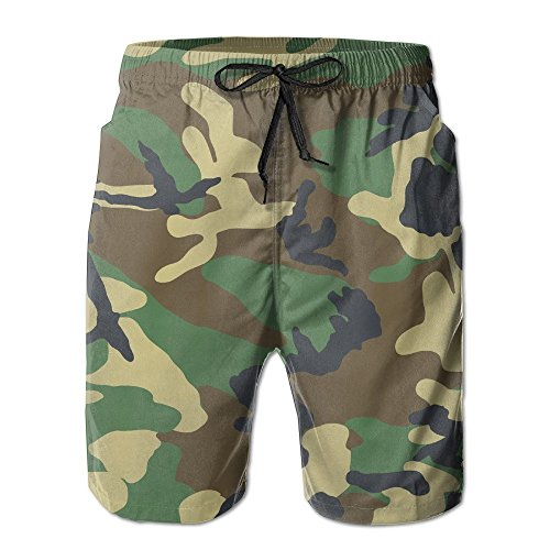 Camouflage Army Men's Quick Dry Beach Board Shorts Milatry Swim Trunks for Father's Day for Boy Swimming