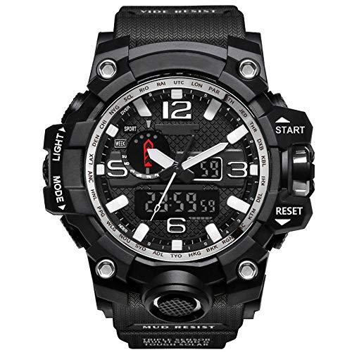 YZT QUEEN Herren Sport Digitaluhr, 50 Meter wasserdichte Uhr LED Quarzuhr Sportuhr männlich, Multifunktions-Outdoor-Sport, leuchtende Uhren,BlackSilver