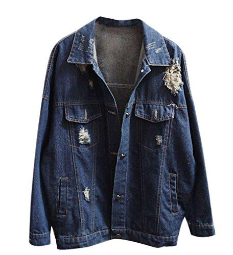 TIANKUO Yasong Women Girls Loose Fit Long Sleeve Oversize Plus Size Jacket Vintage Light Wash Faded Ripped Boyfriend Jean Denim Jacket