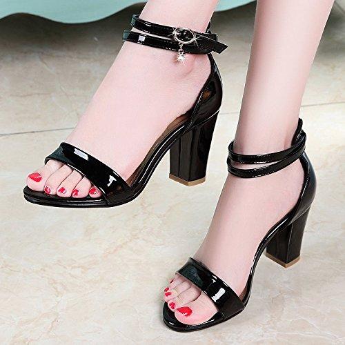 GTVERNH-white 7.5cm solo scarpe una parola fibbia pesante tallone sandali donna summer - toed tacchi a bocca di pesce della piazza e sandali.,37 Thirty-five