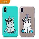 KM-Panda Coque Apple iPhone X Licorne Bleu + Transparent Silicone TPU Transparent Motif Ultra Fine Slim Bumper Antichoc Etui Housse Case Cover