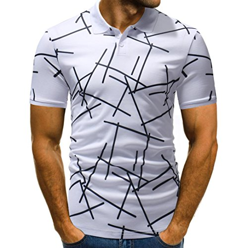 58ed73a3 KPILP Mens Polo Shirt Half Cardigans Short Sleeve Patchwork Casual T Shirt (White,Large