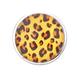 Andante CHUNK Click-Button Druckknopf (Leopard Gelb) für Chunk-Armbänder, Chunk-Ringe und andere Chunk-Accessoires