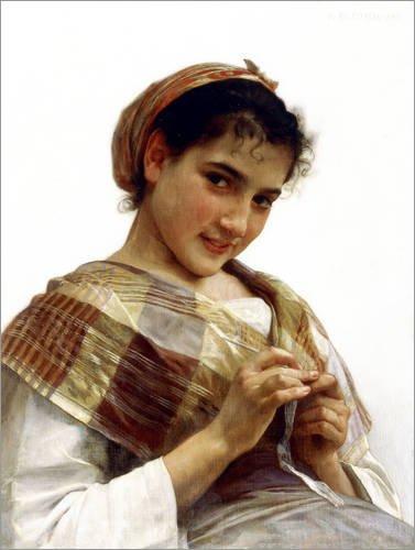 Posterlounge Stampa su acrilico 100 x 130 cm: A Breton Girl di William Adolphe Bouguereau/Bridgeman Images