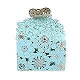 WOLFTEETH Bolsitas para caramelos y gominolas para decoración de boda, caja regalo 7832, cartón, azul, Paquete de 50