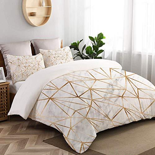 VORMOR 3 teilig Bettbezug Marmor Hintergrund Gold Polygone Mikrofaser Bettdeckenbezug 135x200cm,Reißverschluss,mit 2 Kopfkissenbezüge 50x80cm