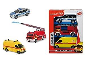 Dickie Toys S.O.S. Team Set vehículo de Juguete - Vehículos de Juguete (Azul, Gris, Rojo, Amarillo, 3 año(s), Niño, 3 Pieza(s), Motor (de fricción) hacia Delante)
