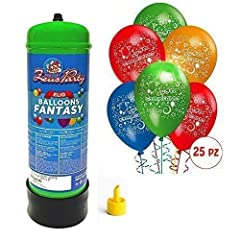 Idea Regalo - Bombola gas elio da 2,2 litri + 25 palloncini buon compleanno OMAGGIO