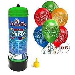 Bombola gas elio da 2,2 litri + 25 palloncini buon compleanno OMAGGIO