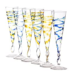 Abigails Rialto Champagne Flutes Spiral, 2.5-Inch by 10-Inch