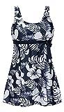 Vian Lundgaard - Damen Frauen Trendy Tankini-Set Im Hawaii-Look, L, Blau