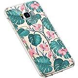 Uposao Custodia Compatibile con Samsung Galaxy S8,Fiore Floreale Design TPU Gel Silicone Protettivo Skin Custodia Protettiva Shell Case-Foglia Verde