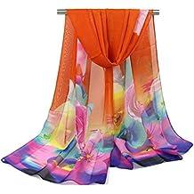 Hmilydyk pour femme Pretty Floral en mousseline écharpes romantique Rose Foulard imprimé léger Plage Wraps pour la plage et Soir orange Orange