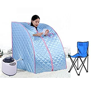 Portable Steam Sauna Personal Spa Body Heater Detoxify Losing Weight Mobile Home Room 98 x 70 x 80 cm 1.8L 3 Colour (Blue)