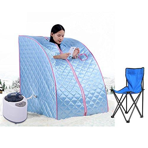 Home-sauna (Flyelf Tragbare Mobile Dampfsauna Personal Spa Body Heater Entgiften Abnehmen Gewicht Home Zimmer 98 x 70 x 80 cm 1.8L (Blau))