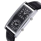 Unendlich U Fashion Schwarz PU-Lederband Damen/Frauen Quarzarmbanduhr mit Doppelte Zifferblatt Römische, Arabische Ziffern für Geburtstagsgeschenk