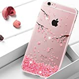 Coque iPhone 7 Plus / 8 Plus,Surakey Bling Gliter Paillette Coque iPhone 8 Plus Transparent Silicone TPU Souple Bumper Case Cover de Protection Crystal Clear Housse Etui,fleurs de cerisier roses