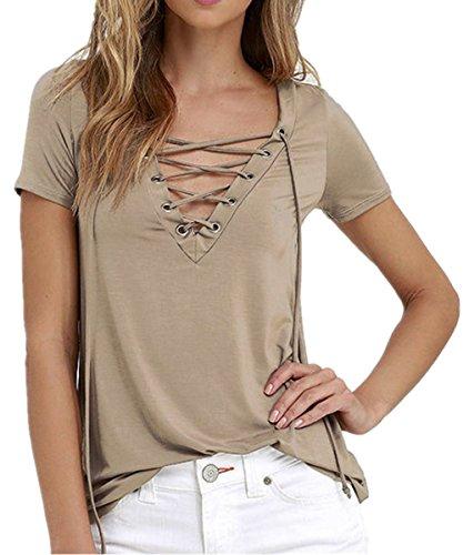 SHUNLIU Damen-T-Shirt/Oberteil mit lässiger Schnürung am V-Ausschnitt Khaki