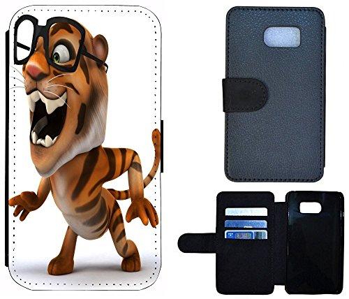 Flip Cover Schutz Hülle Handy Tasche Etui Case für (Apple iPhone 5 / 5s, 1042 Tiger Animiert Braun Weiß) 1042 Tiger Animiert Braun Weiß