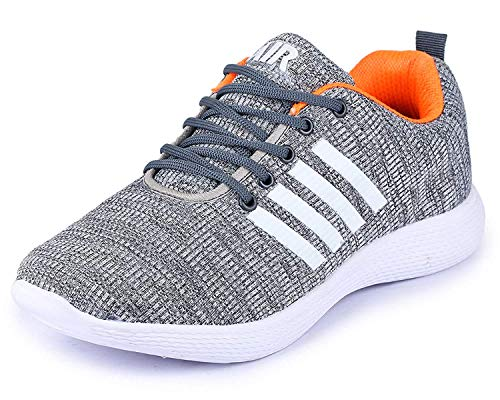 TRASE SRV Relax Grey-Orange Running Shoes for Men-9 IND/UK