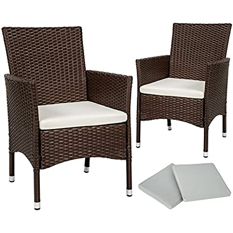 TecTake 2 x Ratán sintético silla de jardín set con cojines + 2 Set de fundas intercambiables + tornillos de acero inoxidable - disponible en diferentes colores - (Marrón mixto | No.