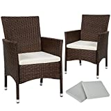 TecTake 2 x Ratán sintético silla de jardín set con cojines + 2 Set de fundas intercambiables + tornillos de acero inoxidable - disponible en diferentes colores - (Marrón mixto | No. 402123)