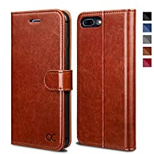 OCASE Cover iPhone 7 Plus, Custodia iPhone 8 Plus Interno TPU Antiurto Portafoglio, Supporto Stand, Carta Fessura, Custodia di Pelle Case Flip per iPhone 7 Plus/8 Plus Garanzia a Vita - Marrone