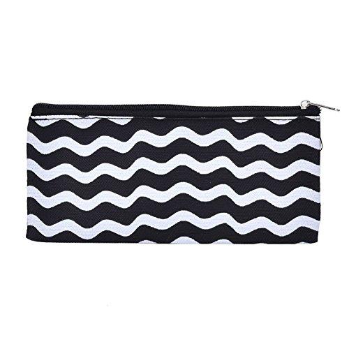 Qinlee Striped Oxford Tuch Bleistift Tasche Schwarzer Hintergrund Weiß Kreis Vertikal Gestreift Bleistift Tasche Schreibpapier Tasche