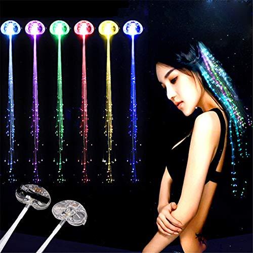 12er Leuchtende Zöpfe LED Zopf kreative Haarsträhnen Glühwürmchen Rainbow Party Deko Haarschmuck Fasching Karneval