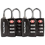 4 Pack TravelMore TSA Luggage Padlocks – 3 Digit Combination Travel...