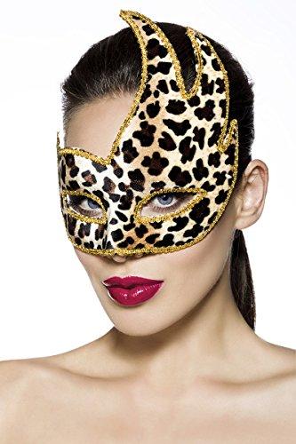 Hochwertige filigrane Karneval Fasching Maske aus Kunststoff mit Leoparden Design (Kostüm Maske Leopard)