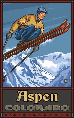 Northwest Art Mall Aspen colordo Skispringer SJ Art Wand von Paul A. lanquist, 27,9cm von 43cm