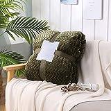 Asdomo Luxus-Überwurfdecke, Jacquard-Blumendecke, doppelseitig, wendbar, weich, flauschig, leicht, warm, flauschig, Flanell, Fleece, Mikrofaser, TV Decke für Couch Sofa, Bett, Stuhl, dunkelgrün