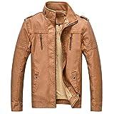 Winterjacke Schafe Haut Lederjacke Mantel Jacken Outwear MäNner Plus GrößE Leder Gewaschen Retro-Leder Verdickung Top Herren Bikerjacke Coat üBergangsjacke Schafs-Leder Stehkragen(Braun,XL)