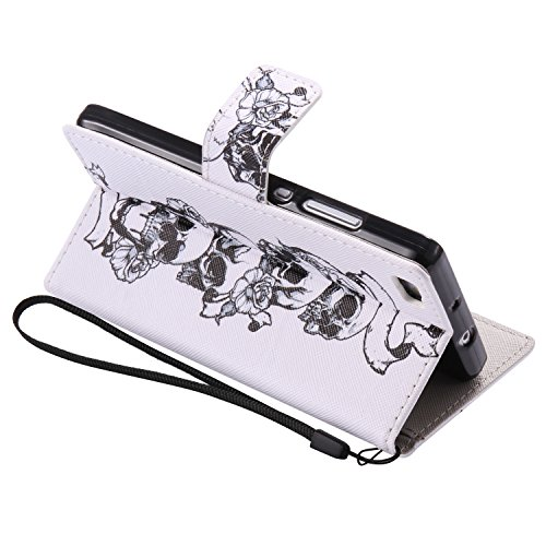 PU Coque Cuir P8 Lite, étui en cuir PU Cuir Flip Magnétique Portefeuille Fermeture Aimantée de Motif Imprimé Étui Housse en Cuir Ultra-mince Avec La Stand Fonction Stand pour Huawei P8 Lite +Bouchons  3