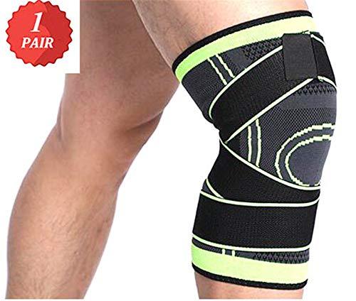 ZPPLD Kompressions-Kniebandage Sleeve Verstellbarer Gurt zur Schmerzlinderung, Meniskusriss, Kreuzbandage, Arthritis - Kniebandage zum Laufen, Joggen, Wandern, Basketball, Volleyball,L