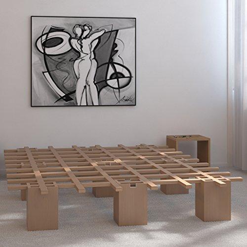 Tojo Bett - Tojo system Funktionsbett -140 x 200 cm - Ideal als Gästebett, Studentenbett, Jugendbett - Das flexible Raumwunder - Unbehandeltes Holzbett ohne Schrauben, Beschläge - 6
