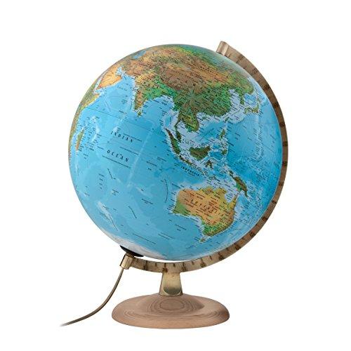 Atmosphere - Globo terráqueo con esfera de madera y metal, iluminada, en castellano, 30 cm, color azul (Mapiberia B4)