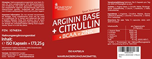 BIOMENTA 3.500 mg L-ARGININ BASE + 1.000 mg L-CITRULLIN MALAT + 1.000 mg BCAA | 150 ARGININ CITRULLIN KAPSELN | OHNE TRENNMITTEL ODER SONSTIGE ZUSÄTZE