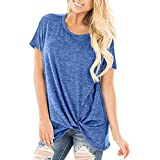 ESAILQ Frau LäSsige Solid Color Kurzarm O Neck Bluse Twist Verknotet Tops T-Shirt(Medium,Blau)
