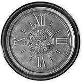 @Home Romano Plastic Wall Clock (46 cm x 46 cm x 5.01 cm, Black and Antique Silver)