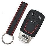 Schlüssel Hülle AD Wabenmuster + Keytag für 3 Tasten Auto Schlüssel Silikon Cover von Finest-Folia (Schwarz Rot)