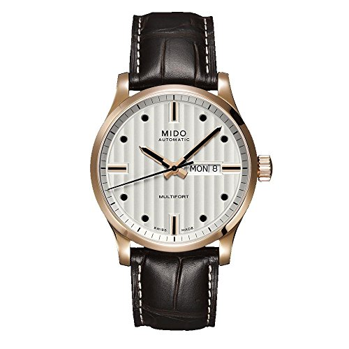 mido-mens-multifort-42mm-brown-leather-band-rose-gold-plated-case-automatic-watch-m0054303603180