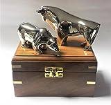 Bulle & Bär Figuren in Holzschatulle Design Bulle und Bär vernickelt glanz - Bulle + Bär stock exchange