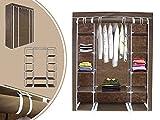 Leogreen - Stoffschrank, Faltbarer Camping-Kleiderschrank, 3 Türen, 172 x 134 x 43 cm, Braun, Material: Edelstahlrohre