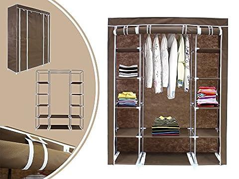 Leogreen Triple 3 Door Deluxe Canvas Clothes Hanging Rail Storage