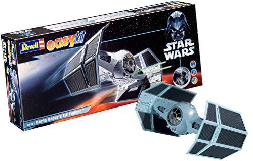 Revell Modellbausatz Star Wars Darth Vader's TIE Fighter im Maßstab 1:57, Level 2, originalgetreue Nachbildung mit vielen Details, Steckmechanismus, mit vorbemalten und vordekorierten Teilen, 06655